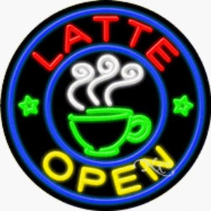 Latte - Open Handcrafted Energy Efficient Real Glasstube Neon Sign