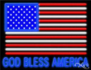 God Bless America Handcrafted Energy Efficient Real Glasstube Neon Sign