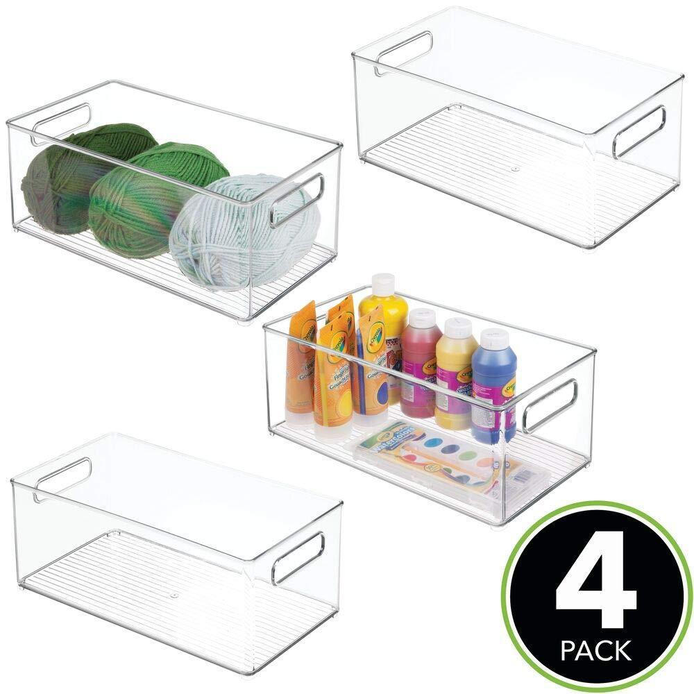 6 Pack Hobby Classroom Studio Sewing Clear//Rose Gold Art Supplies in Home mDesign Stackable Plastic Drawer Organizer Storage Bin Tray Holder for Craft