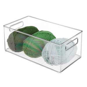 Amazon best mdesign largeplastic storage organizer bin holds crafting sewing art supplies for home classroom studio cabinet or closet great for kids craft rooms 14 5 long 4 pack clear