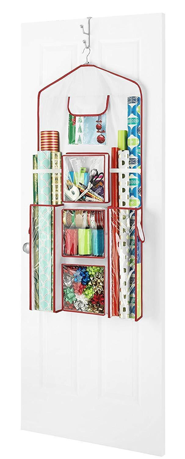 Discover the best whitmor gift wrap organizer space saving and storage solution for wrapping paper ribbons craft supplies and more can hold 40 rolls of gift wrap 4 extra pockets and sturdy hanging hook