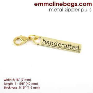 "Zipper Pull ""handcrafted"" Gold Finish - Emmaline Bags"