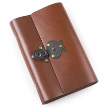 Load image into Gallery viewer, Discover the best ancicraft leather journal diary notebook small a6 refillable with vintage flower vase lock 6 ring binder lined craft paper red brown flower vase lock a6