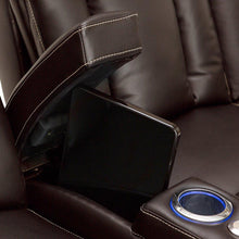 Load image into Gallery viewer, Order now seatcraft sigma home theater seating sofa leather gel recline with adjustable powered headrests center fold down table hidden in arm storage ac usb charging and lighted cup holders brown