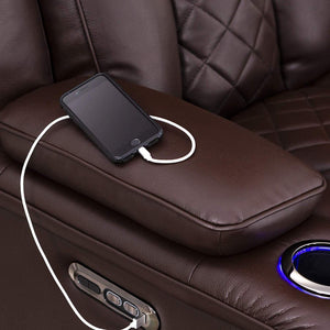 Storage seatcraft europa home theater seating power recline leather gel sofa adjustable powered headrests cup holders power charging station hidden in arm storage sofa brown
