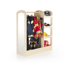 Load image into Gallery viewer, Products guidecraft see and store dress up center natural armoire for kids with mirror shelves clothes rack and shoe storage dresser with bottom tray toddlers room furniture