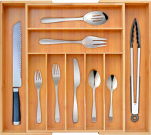 Load image into Gallery viewer, Buy now bamboo kitchen drawer organizer expandable silverware organizer utensil holder and cutlery tray with grooved drawer dividers for flatware and kitchen utensils by royal craft wood