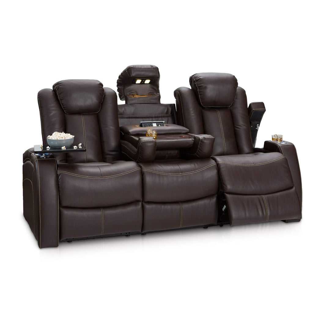 Organize with seatcraft 162e51151559 v1 omega home theater seating leather gel recline sofa with adjustable powered headrests fold down table and lighted cup holders brown