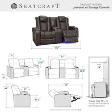 Load image into Gallery viewer, Storage organizer seatcraft anthem home theater seating leather power recline loveseat with center storage console powered headrests storage and cupholders brown
