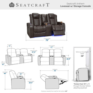 Storage organizer seatcraft anthem home theater seating leather power recline loveseat with center storage console powered headrests storage and cupholders brown