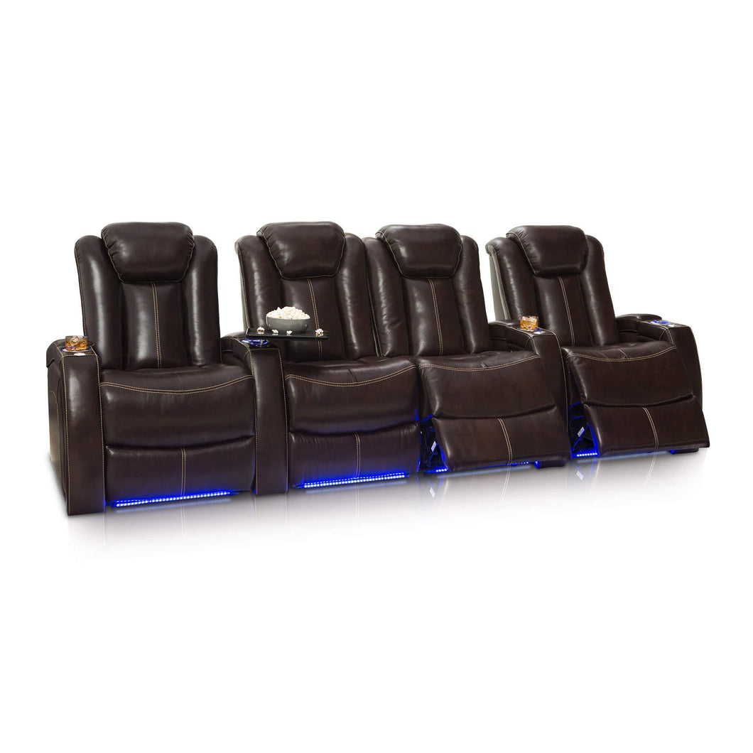 Best seatcraft delta home theater seating leather power recline powered headrests and built in soundshaker row of 4 center loveseat brown