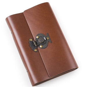 Buy ancicraft leather journal diary notebook small a6 refillable with vintage flower vase lock 6 ring binder lined craft paper red brown flower vase lock a6