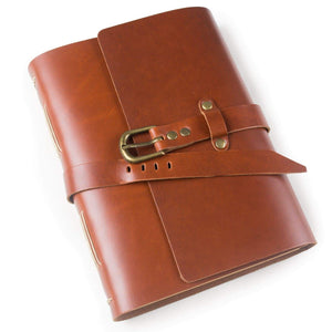 Buy now ancicraft classic genuine leather journal with strap buckle handmade a5 lined craft paper red brown with gift box red brown a55 8x8 3inch lined craft paper