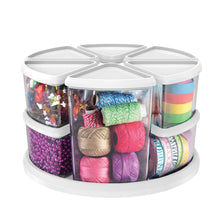 Load image into Gallery viewer, Save deflecto rotating carousel craft storage organizer 9 canister configuration includes 3 and 6 canisters removable clear white lids 3901cr