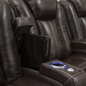 Budget seatcraft delta home theater seating leather power recline powered headrests and built in soundshaker row of 4 center loveseat brown