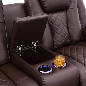 Storage organizer seatcraft europa home theater seating power recline leather gel sofa adjustable powered headrests cup holders power charging station hidden in arm storage sofa brown