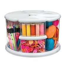 Load image into Gallery viewer, Products deflecto rotating carousel craft storage organizer 9 canister configuration includes 3 and 6 canisters removable clear white lids 3901cr