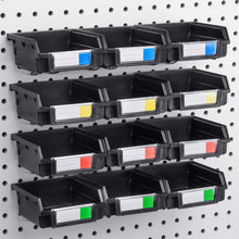 Load image into Gallery viewer, Try pegboard bins 12 pack black hooks to any peg board organize hardware accessories attachments workbench garage storage craft room tool shed hobby supplies small parts