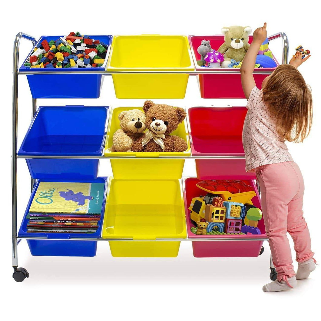 Top sorbus toy bins office supply organizer on wheels plastic storage cart with removable bins ideal for toys books crafts office supplies and much more primary colors