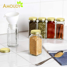 Load image into Gallery viewer, New 12 square clear glass bottles containers jars 4oz with gold metal lids and shaker tops empty organizer set deluxe decorative modern spices seasoning food crafts gifts