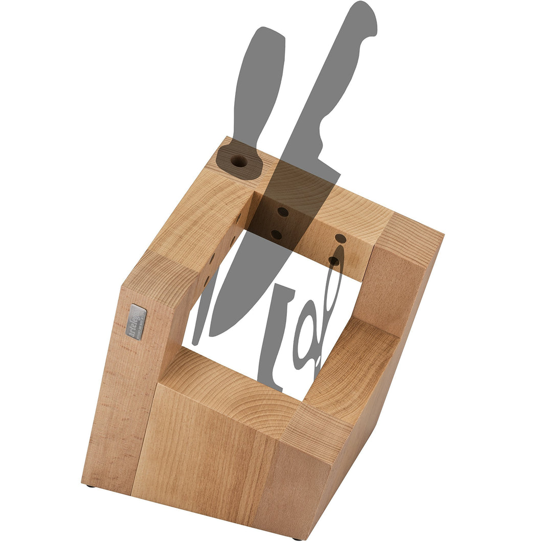 Featured artelegno magnetic knife block solid beech wood with sharpener holder luxurious italian pisa collection by master craftsmen displays protects 8 high end knives eco friendly natural finish