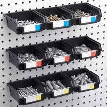 Load image into Gallery viewer, Amazon best pegboard bins 12 pack black hooks to any peg board organize hardware accessories attachments workbench garage storage craft room tool shed hobby supplies small parts
