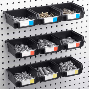 Amazon best pegboard bins 12 pack black hooks to any peg board organize hardware accessories attachments workbench garage storage craft room tool shed hobby supplies small parts