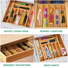 Load image into Gallery viewer, Buy bamboo kitchen drawer organizer expandable silverware organizer utensil holder and cutlery tray with grooved drawer dividers for flatware and kitchen utensils by royal craft wood