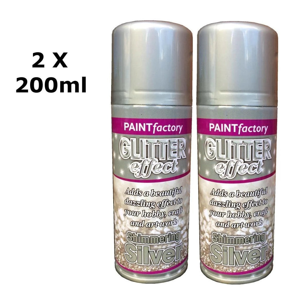 Glitter Effect Spray Paint Decorate Craft Art Colour For Wood Metal Plastic 200ML[Silver,2 x 200ml]