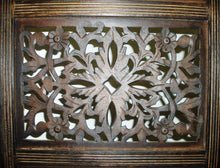 Load image into Gallery viewer, Shop for rajasthan antique brown 4 panel handcrafted wood room divider screen 72x80 intricately carved on both sides reversible hides clutter adds decor divides the room antique brown rajasthan