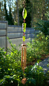 Green Glass Copper Handcrafted Art Wind Chime Garden Decor