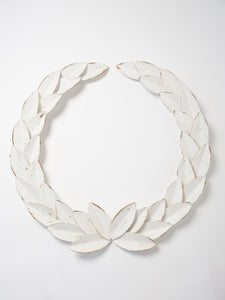 Handcrafted Metal Laurel Wreath with distressed paint finish