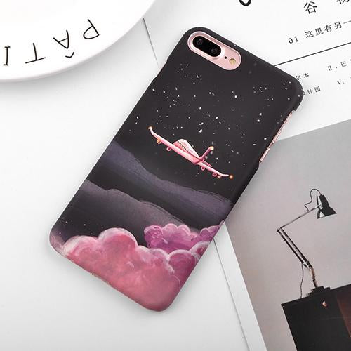Granite Scrub Marble Phone Cases For iPhone 6 6S 7 Plus 5 5S SE 3D Aircraft Stars Plastic Hard Back Cover Case for iPhone 8 Plus