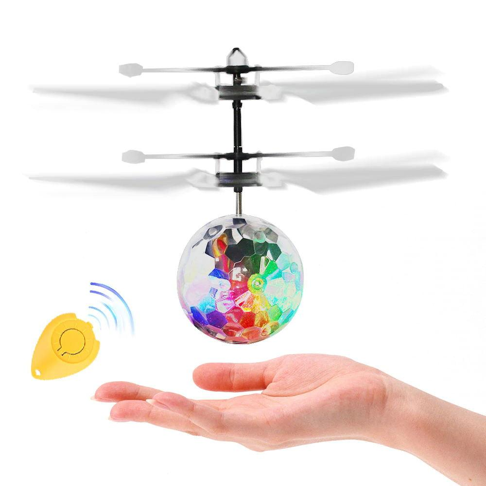 li VICIVIYA Luminous Light-up Toys Glowing LED Magic Flying Ball Sensing Crystal Flying Ball Helicopter Induction Aircraft Toys (With Control) liang