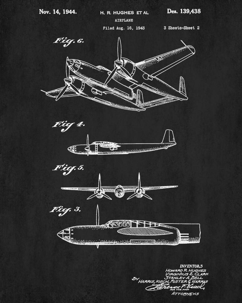 Hughes Aircraft Blueprint Flying Patent Print Airplane Aeroplane Poster