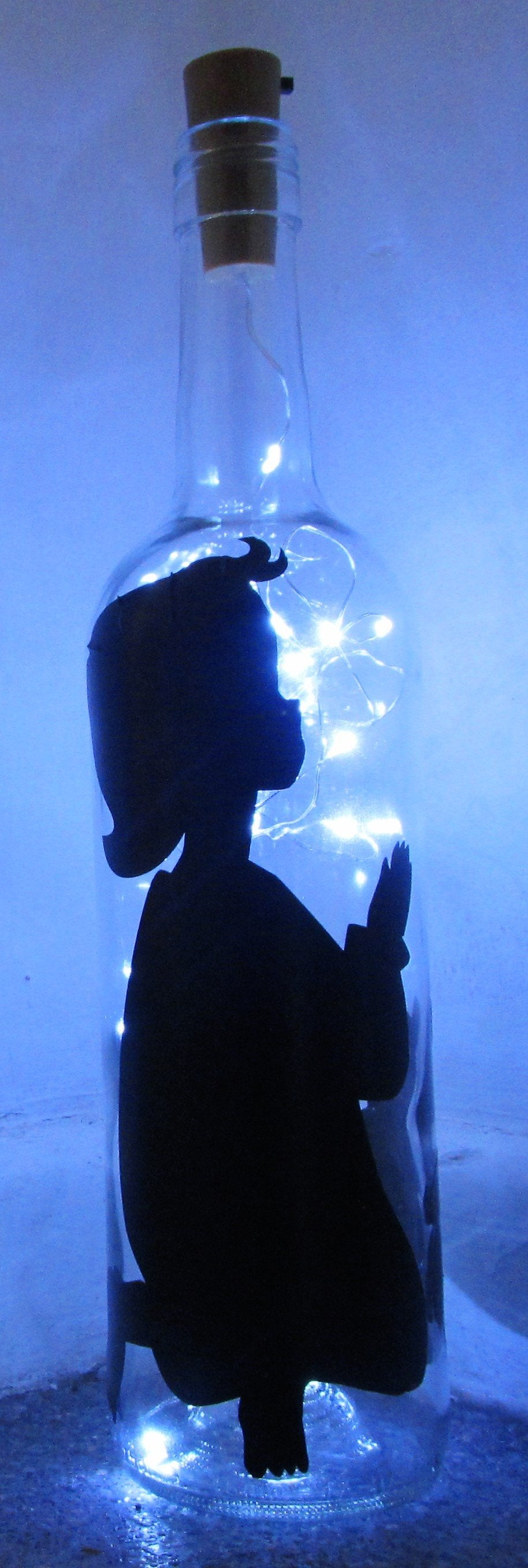 Handcrafted Light up bottle- Beautiful handmade child preying light up bottle