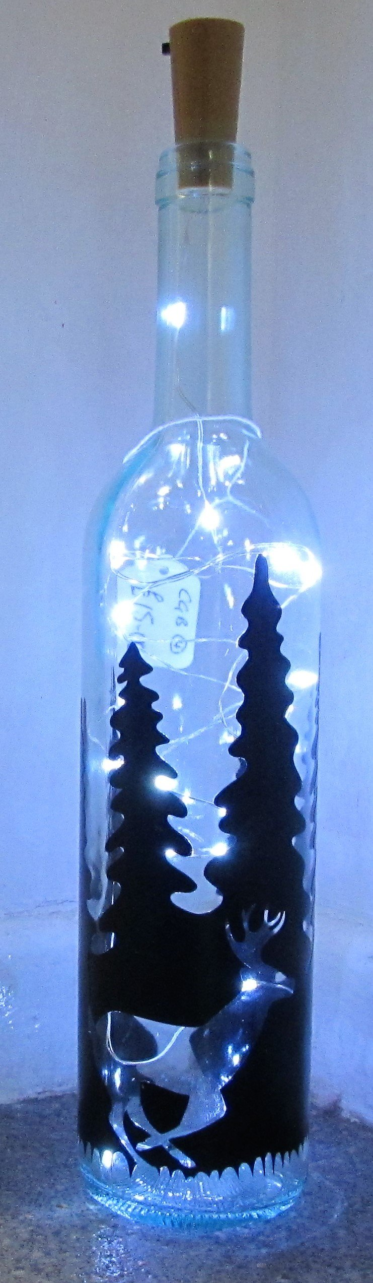 Handcrafted Light up bottle- Beautiful handmade Stag in forest light up bottle