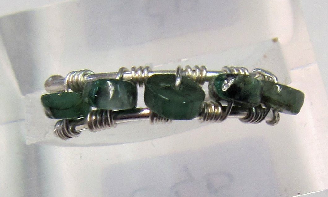 Handcrafted wire with emerald stone ring Size P