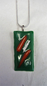 Handcrafted green fused glass pendant on sterling silver necklace