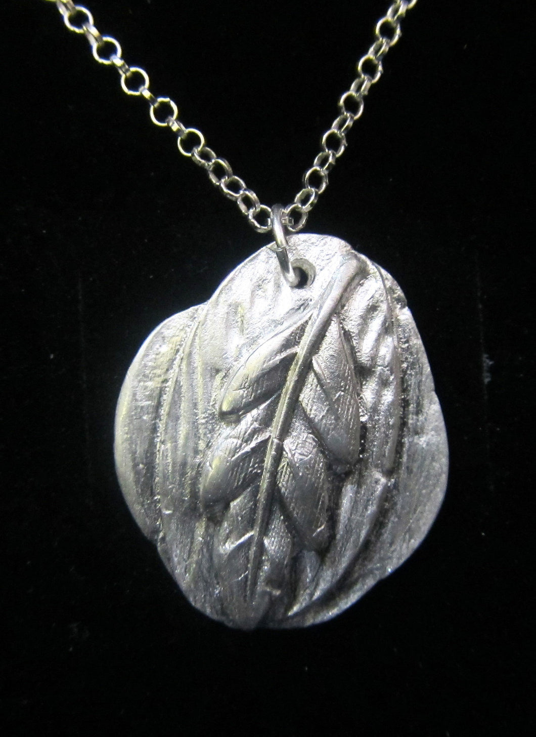 Handcrafted sterling silver leaf pendant with 925 Silver necklace