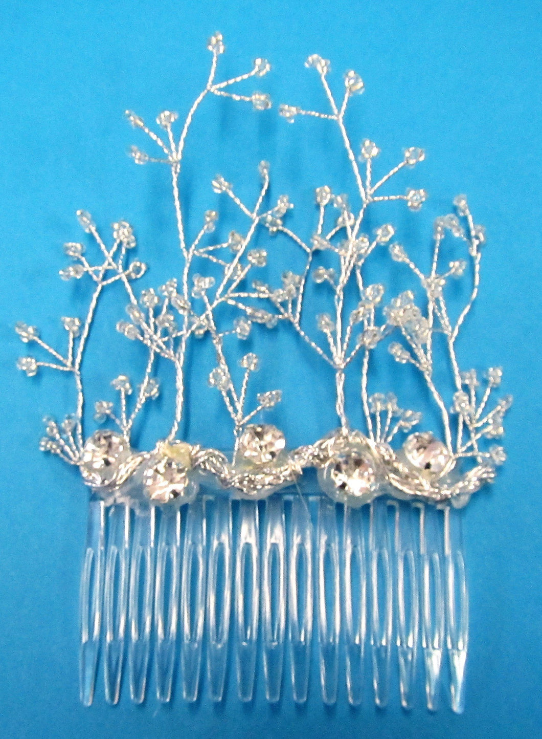 Handcrafted bridal hair slide with diamante crystals and seed bead stems