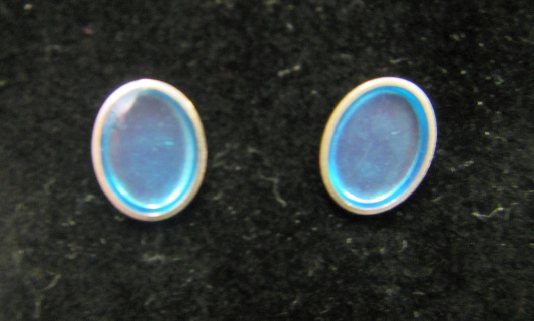 Handcrafted blue oval 925 sterling silver earring studs