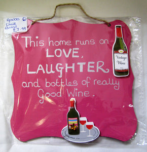 "Handcrafted unique ""Wine"" pink and silver plaque"