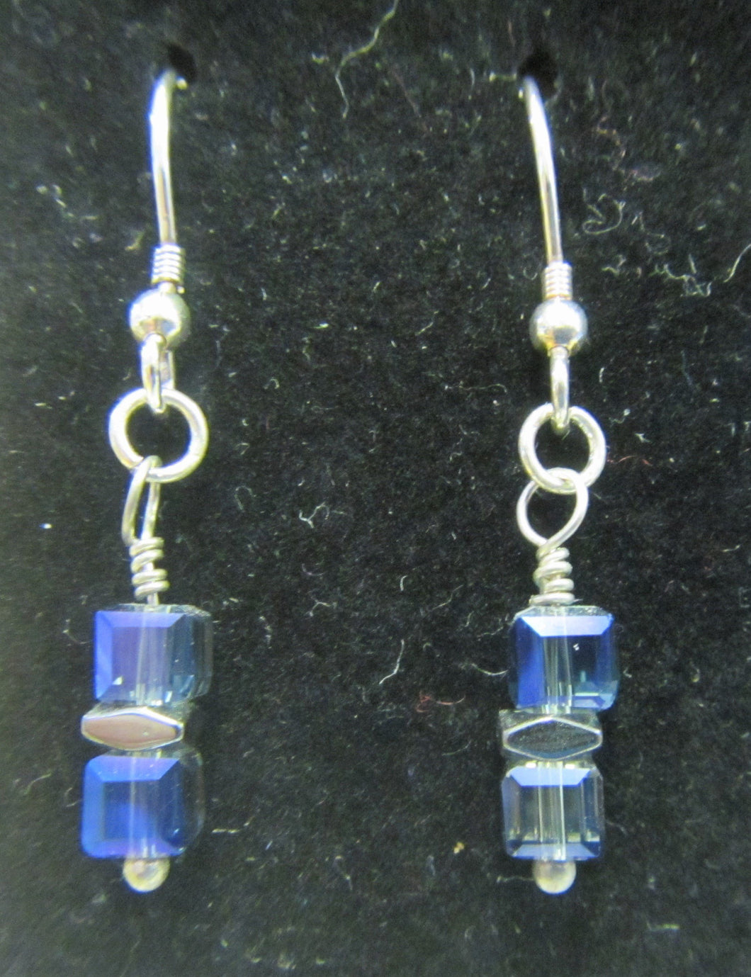 Handcrafted blue cube 925 sterling silver earrings