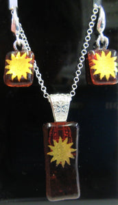 Handcrafted bronze glass with gold sun pattern necklace and earring set
