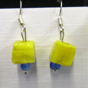 Handcrafted sterling silver yellow cube fused glass earrings 3 cm in length