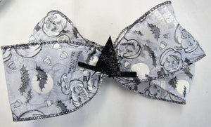 Handcrafted Halloween Bow - White Pumpkin