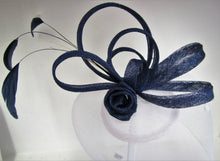 Load image into Gallery viewer, Handcrafted Blue and white fascinator on a hair clip