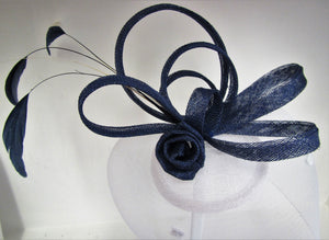 Handcrafted Blue and white fascinator on a hair clip