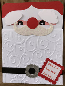 Handcrafted Santa Wish List Pull Down Beard Christmas Greeting Card